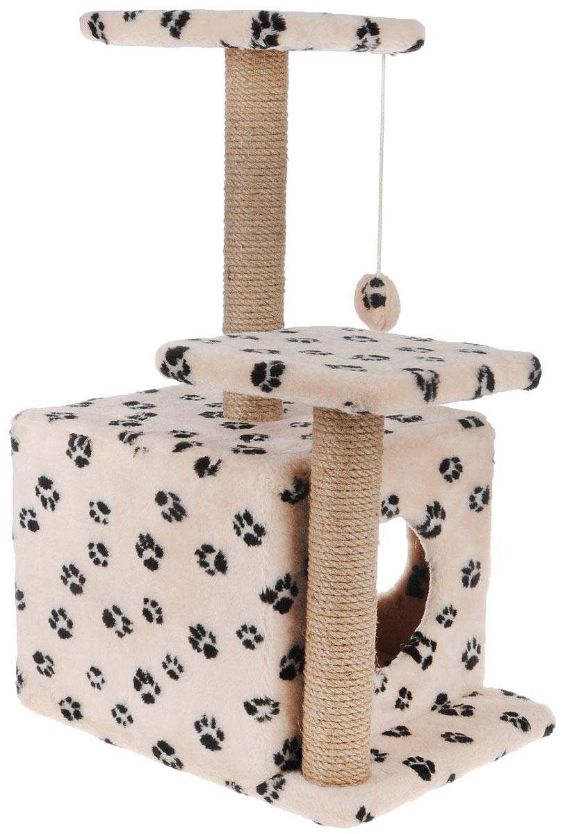 Игровой комплекс для кошек Меридиан, с домиком и когтеточкой, цвет: бежевый, черный, 45 х 47 х 75 смД131 Ла_бежевый, чёрные лапкиИгровой комплекс для кошек Меридиан выполнен из высококачественного ДВП и ДСП и обтянут искусственным мехом. Изделие предназначено для кошек. Ваш домашний питомец будет с удовольствием точить когти о специальный столбик, изготовленный из джута. А отдохнуть он сможет либо на полках разной высоты, либо в расположенном внизу домике. Также комплекс оснащен подвесной игрушкой, которая привлечет вашего питомца. Общий размер: 45 х 47 х 75см. Размер домика: 45 х 36 х 32 см. Высота полок (от пола): 75 см, 45 см. Размер полок: 26 х 26 см.