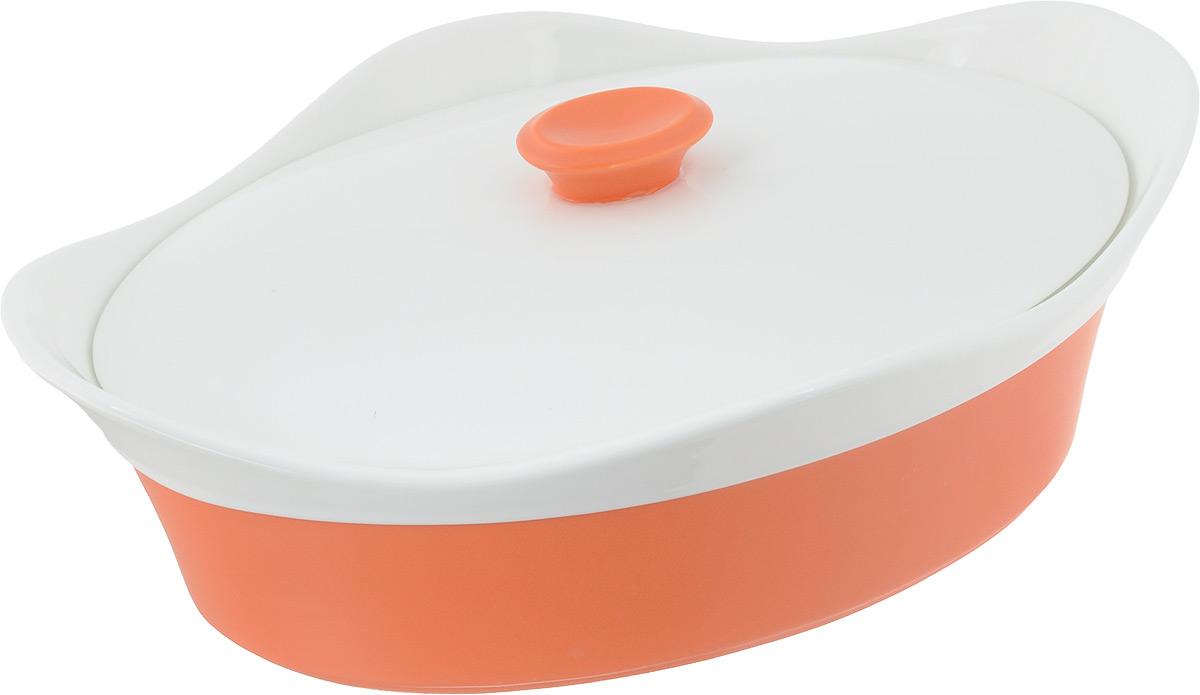 Блюдо BartonSteel, цвет: оранжевый, белый, 1,75 л. 2411BS2411BSОвальное фарфоровое блюдо с крышкой. Размеры: 30,5х20,8х10,5 - 1,75л 2 цвета