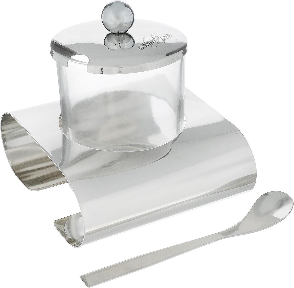 Сахарница BartonStee, с ложкой и подставкой, 200 мл1004BS/NEWСахарница BartonStee изготовлена из высококачественного стекла и нержавеющей стали. Стеклянная емкость устанавливается на специальной подставке. Сахарница закрывается металлической крышкой с выемкой для ложки. К изделию прилагается ложечка. Сахарница BartonStee станет незаменимым атрибутом любого чаепития, праздничного, вечернего или на открытом воздухе, а также подчеркнет ваш изысканный вкус. Диаметр сахарницы (по верхнему краю): 7 см. Диаметр основания сахарницы: 6,2 см. Высота сахарницы (без учета крышки): 8 см. Высота сахарницы (с учетом крышки и подставки): 8,5 см. Длина ложечки: 11,8 см.