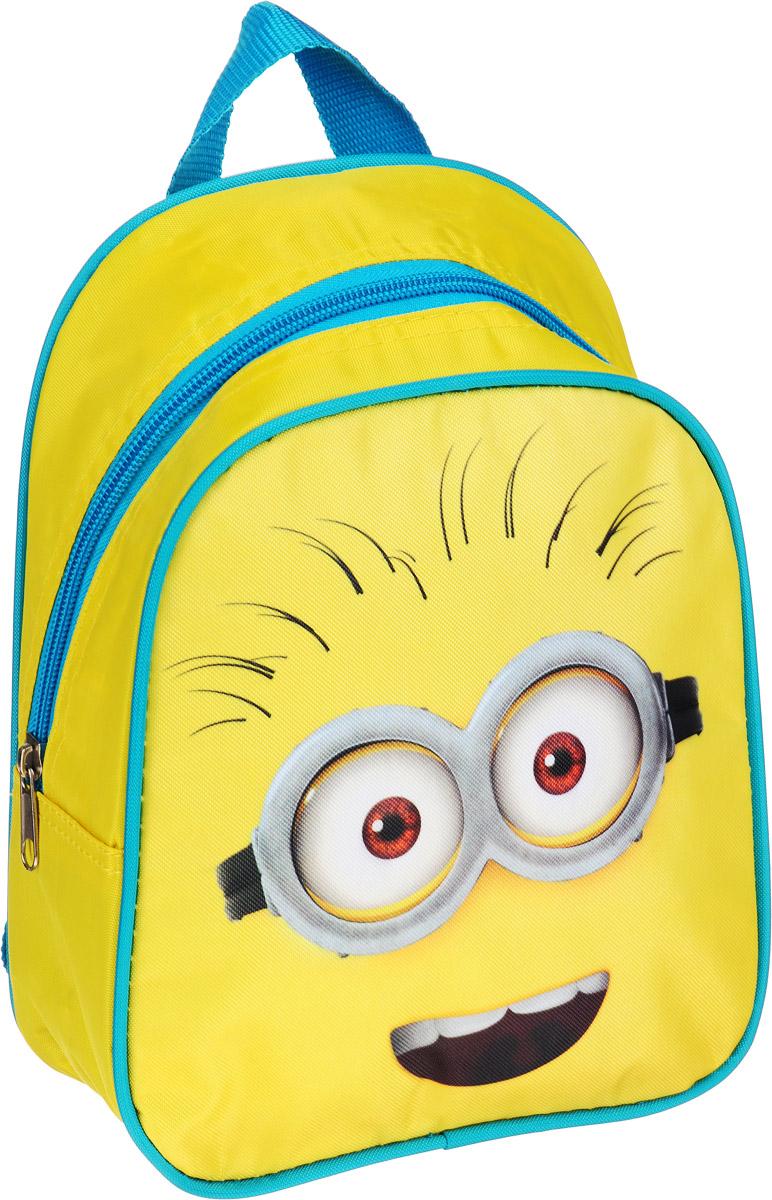 Universal Миньоны Рюкзак дошкольный цвет желтый голубой32229Очаровательный дошкольный рюкзачок Миньоны - это практичный, удобный и привлекательный аксессуар для вашего ребенка. В его внутреннем отделении на молнии легко поместятся не только игрушки, но даже тетрадка или книжка. Благодаря регулируемым лямкам, рюкзачок подходит детям любого роста. Удобная ручка помогает носить аксессуар в руке или размещать на вешалке. Износостойкий материал с водонепроницаемой основой и подкладка обеспечивают изделию длительный срок службы и помогают держать вещи сухими в дождливую погоду. Аксессуар декорирован ярким принтом с любимыми героями ребенка (сублимированной печатью), устойчивым к истиранию и выгоранию на солнце.