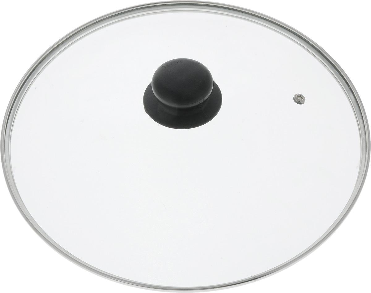 Крышка стеклянная TimA, с металлическим ободом. Диаметр 28 см64728Крышка TimA изготовлена из высококачественного жаропрочного стекла. Изделие имеет металлический обод и отверстие для выпуска пара. Крышка оснащена удобной ненагревающейся ручкой из пластика. Такая крышка позволит следить за процессом приготовления пищи без потери тепла. Она плотно прилегает к краям посуды, сохраняя аромат блюд. Можно мыть в посудомоечной машине.