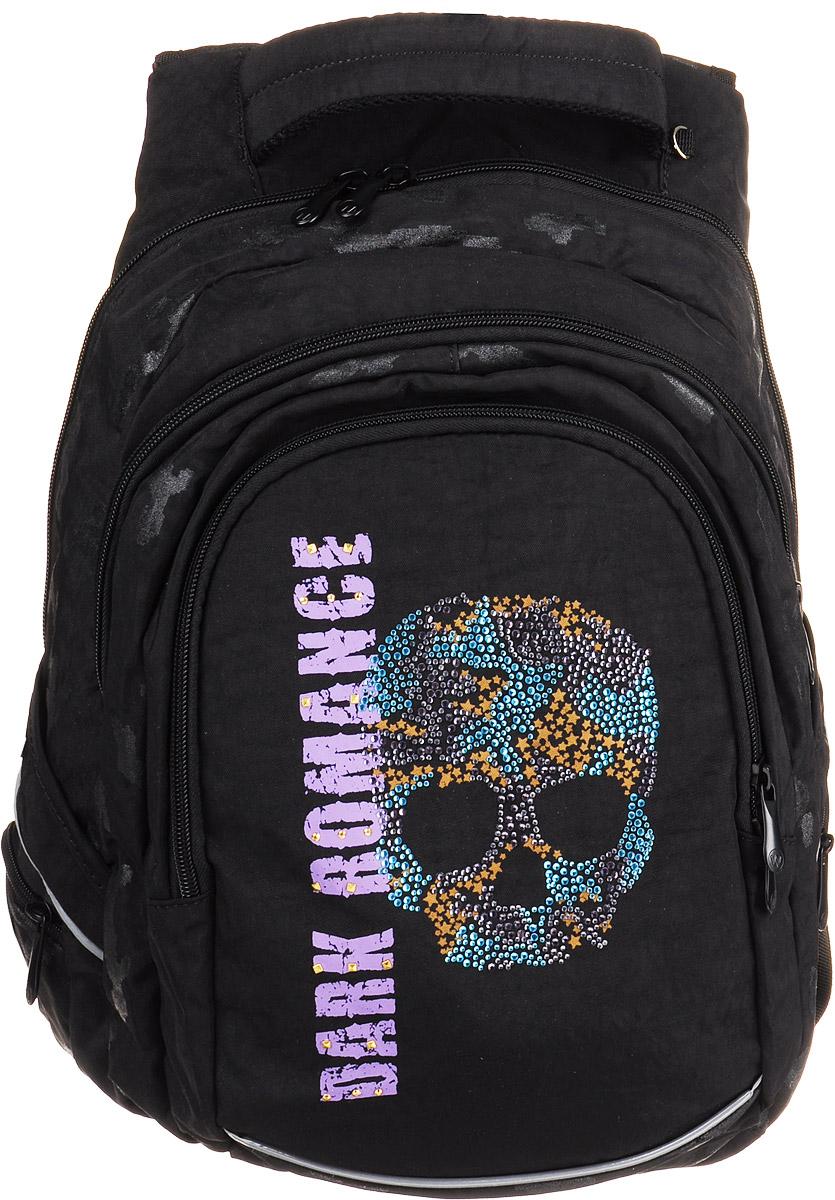 Walker Рюкзак Fun Dark Romance42088/80Рюкзак Walker Fun Dark Romance - это современный многофункциональный молодежный ранец, который выполнен из прочного износостойкого материала высокого качества. Рюкзак имеет одно основное отделение, закрывающееся на молнию с двумя бегунками. Внутри находится один кармашек на молнии и прочная перегородка из двух отделений для бумаг формата А4. Снаружи рюкзака расположены два отделения на молнии и четыре боковых кармана на молнии. В одном из внешних отделений имеются несколько кармашков для мелких аксессуаров и школьных принадлежностей. Имеется удобная текстильная ручка для переноски. А уплотненная спинка и лямки помогают лучше распределить нагрузку и сохранить форму рюкзака независимо от его наполнения. Светоотражающие элементы расположены на передней части рюкзака на боковых и лямках.
