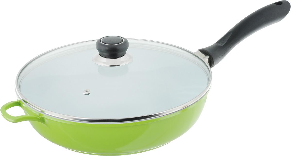 Сковорода Bohmann с крышкой, со съемной ручкой, с керамическим покрытием, цвет: белый, зеленый. Диаметр 28 см7528BHWCR/6Сковорода Bohmann выполнена из кованого алюминия с внутренним керамическим покрытием. Изделие имеет высокую теплопроводность, во время приготовления тепло эффективно удерживается, что позволяет сокращать время приготовления продуктов. Покрытие предотвращает пригорание пищи и обеспечивает безупречное приготовление блюд. Можно готовить с минимальным количеством масла или без него. Сковорода снабжена жаростойкой стеклянной крышкой, которая позволяет контролировать процесс приготовления без потери тепла. Съемная ручка с покрытием Soft-Touch удобна в применении и не нагревается во время готовки. Сковорода подходит для использования на всех типах плит. Можно мыть в посудомоечной машине. Длина ручки: 20 см. Высота стенки: 7 см. Диаметр индукционного диска: 18,5 см.