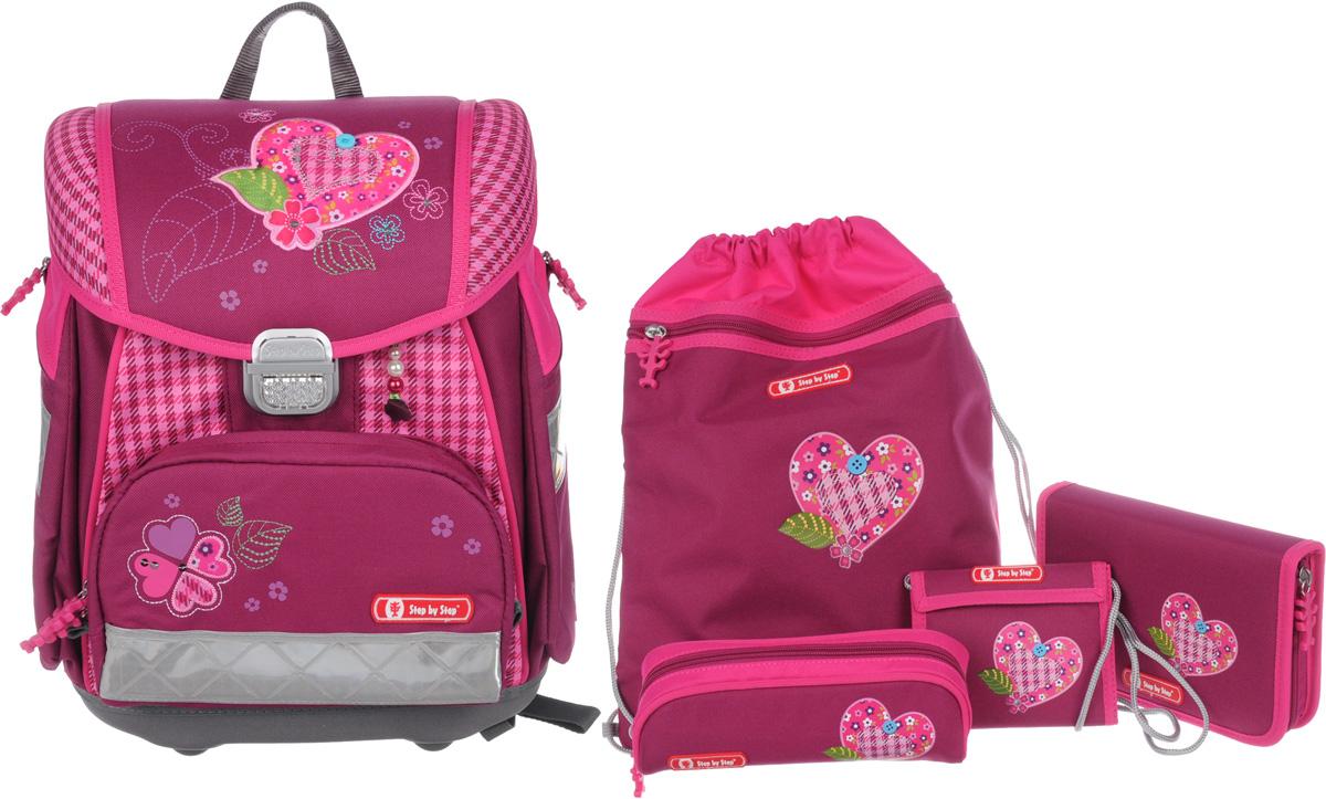 Hama Ранец школьный Touch Tweedy Hearts с наполнением 4 предмета 129086