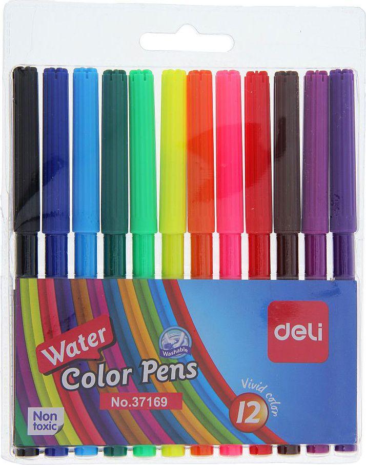 Deli Набор фломастеров Deli 12 цветов1272989Фломастеры 12 цветов DELI — это беспроигрышное сочетание цены и качества. Особенности Толщина линии письма: 1 мм. Пулевидный наконечник. Смывающиеся чернила на водной основе.