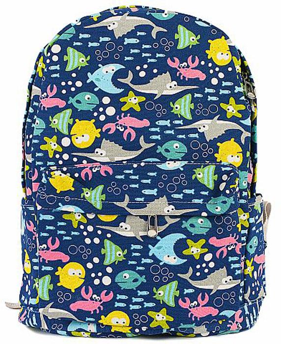 Рюкзак женский Kawaii Factory Рыбы, цвет: темно-синий. KW102-000308KW102-0003081 основное отделение, 3 внутренних кармана, 1 внешний карман, 2 боковых кармана