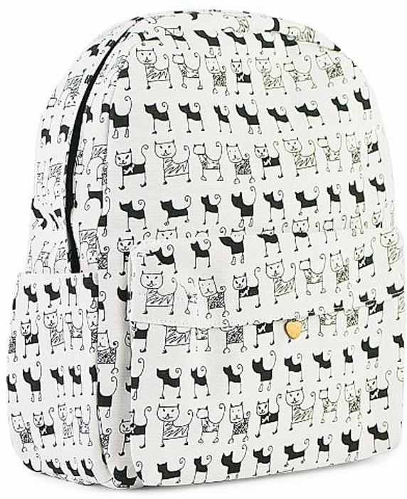 Рюкзак женский Kawaii Factory Черно-белые коты, цвет: белый, черный. KW102-000312KW102-0003121 основное отделение, 2 внутренних кармана (один на молнии), 1 внешний карман, 2 боковых кармана