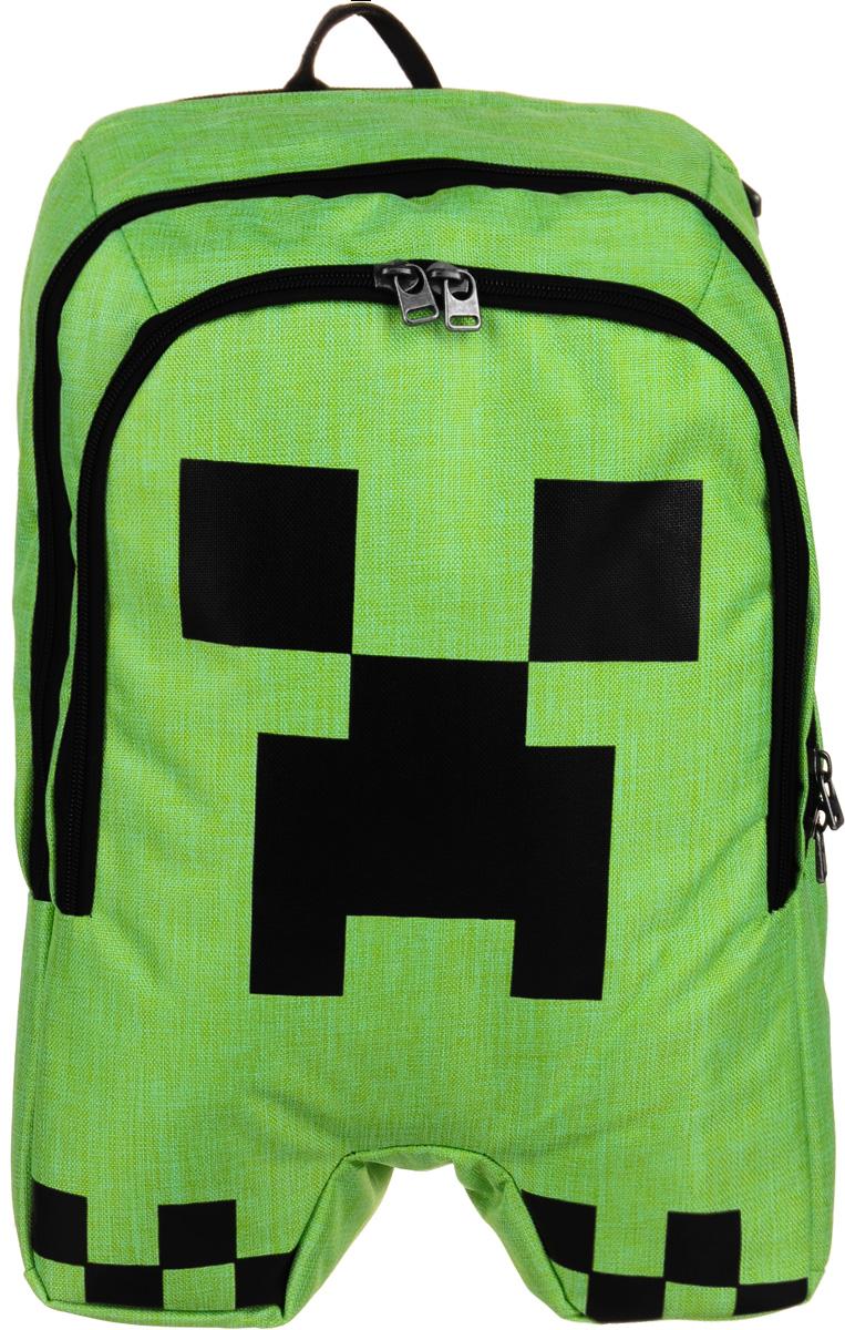 Рюкзак Minecraft Creeper Backpack, цвет: зеленый, черный. N00371N00371Рюкзак Minecraft Creeper Backpack представляет собой детский рюкзачок с двумя отделениями. Большое можно использовать для ноутбука, в маленьком есть пять кармашков для мелочей и два крепления для пишущий принадлежностей. Рюкзак снабжен мягкими регулируемыми по длине лямками и ручкой для переноски. Изделие предназначено для детей старше 8-ми лет.