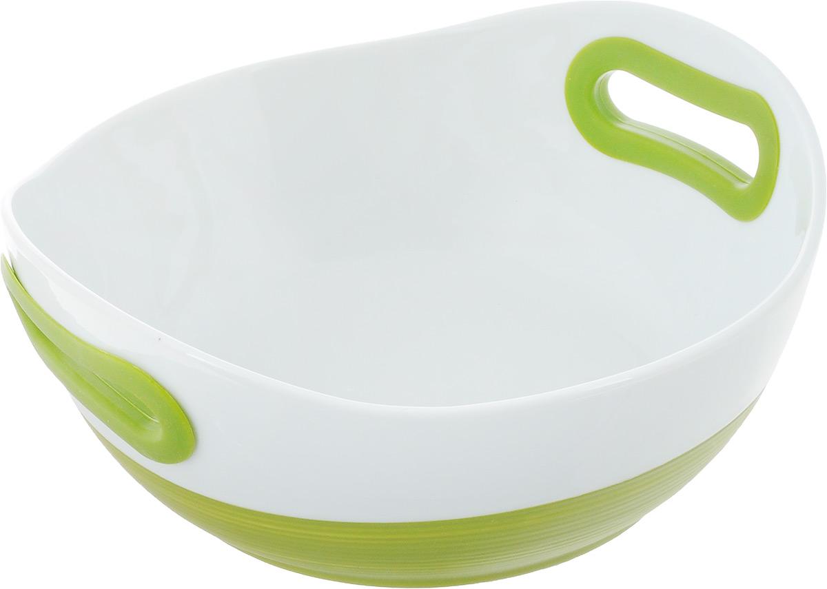Блюдо BartonSteel, цвет: зеленый, белый, 1,1 л. 2412BS2412BSОвальное фарфоровое блюдо. Размер: 23х22х10см. 1.1л. (2 цвета)