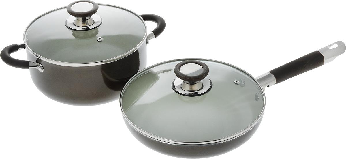 Набор посуды Bohmann, 4 предмета. 6204BНNEW6204BНNEWНабор посуды 4 предмета: литой алюминий с Керам. покрытием внутри Белого цвета. Ручки с силиконовыми ставками. Стеклянные крышки. Размер: Кастрюля с крышкой 22 х 10,5 - 4,0л; Сковорода с крышкой 24 х 5,0 - 2,2л
