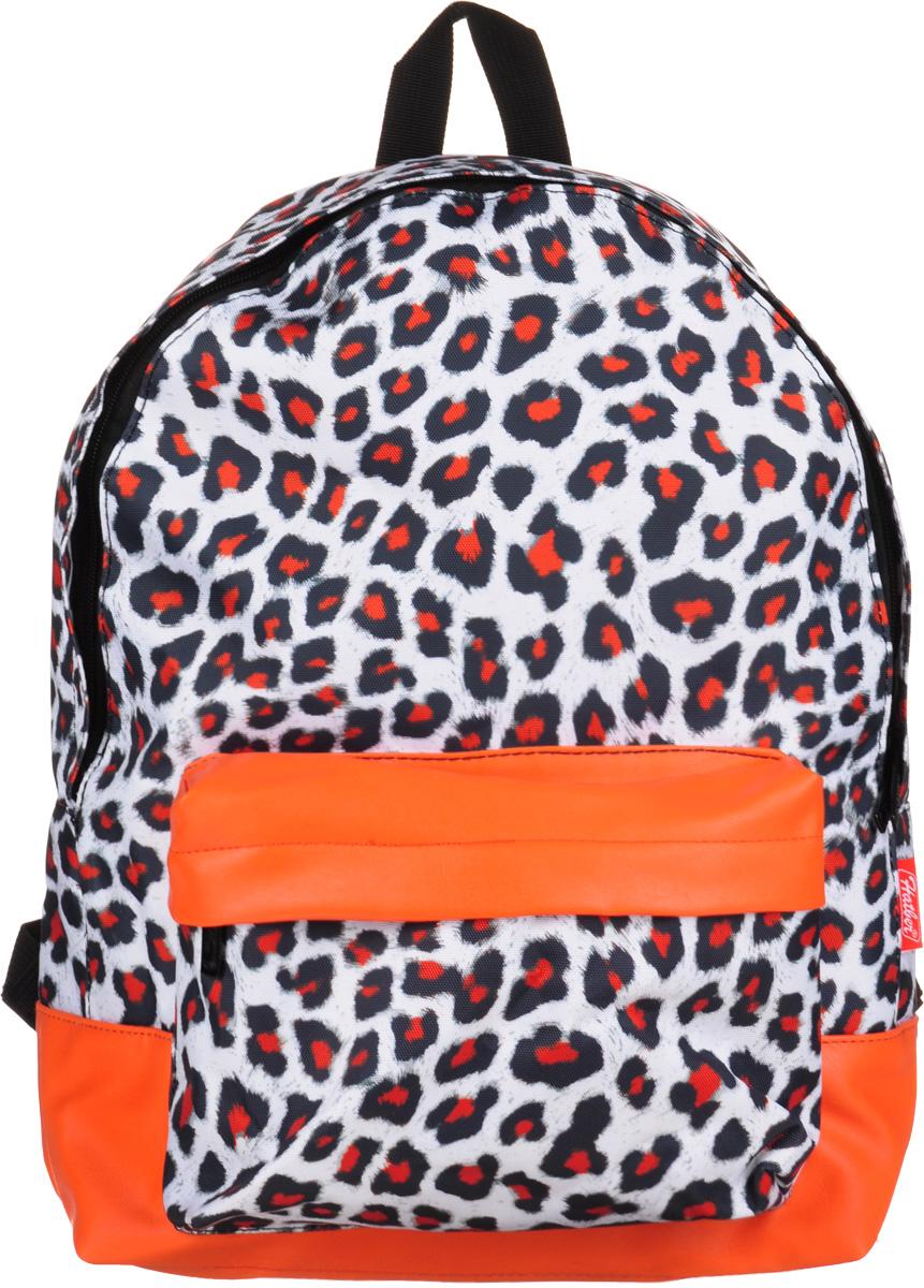 Hatber Рюкзак Basic Leopard StyleNRk_19052Рюкзак Hatber Basic Leopard Style - это современный молодежный рюкзак, отличающийся легкостью и вместительностью. Изделие выполнено из полиэстера и оформлено леопардовым принтом. Рюкзак имеет одно основное отделение на застежке-молнии. Внутри расположен карман для тетрадей. На лицевой стороне рюкзака размещен накладной карман на молнии. Текстильная ручка обеспечивает возможность переноски рюкзака в одной руке. Уплотненные спинка и лямки гарантируют комфорт при любых обстоятельствах. Дно рюкзака также уплотнено.