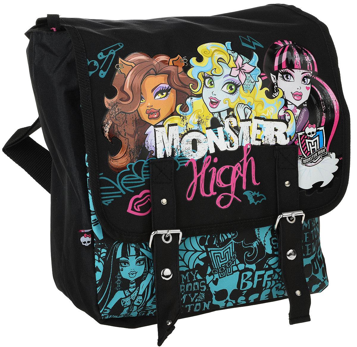 Рюкзак Размер 30 х 28 х 12 см. Monster HighMHBB-MT1-599Этот рюкзак изготовлен из износостойкой легкомоющейся ткани. Сверху рюкзак застегивается на застежку молния, а затем закрывается клапаном на двух магнитных застежках. Внутри рюкзака имеется два маленьких кармашка, а также еще один карман на молнии. Плечевые лямки рюкзака Monster High Pink регулируются по длине. Кроме того у рюкзака имеется дополнительная ручка для ношения его в руке. Если Вы ищите подарок девочке, можете быть уверенными, рюкзак Monster High Night непременно придется ей по вкусу!