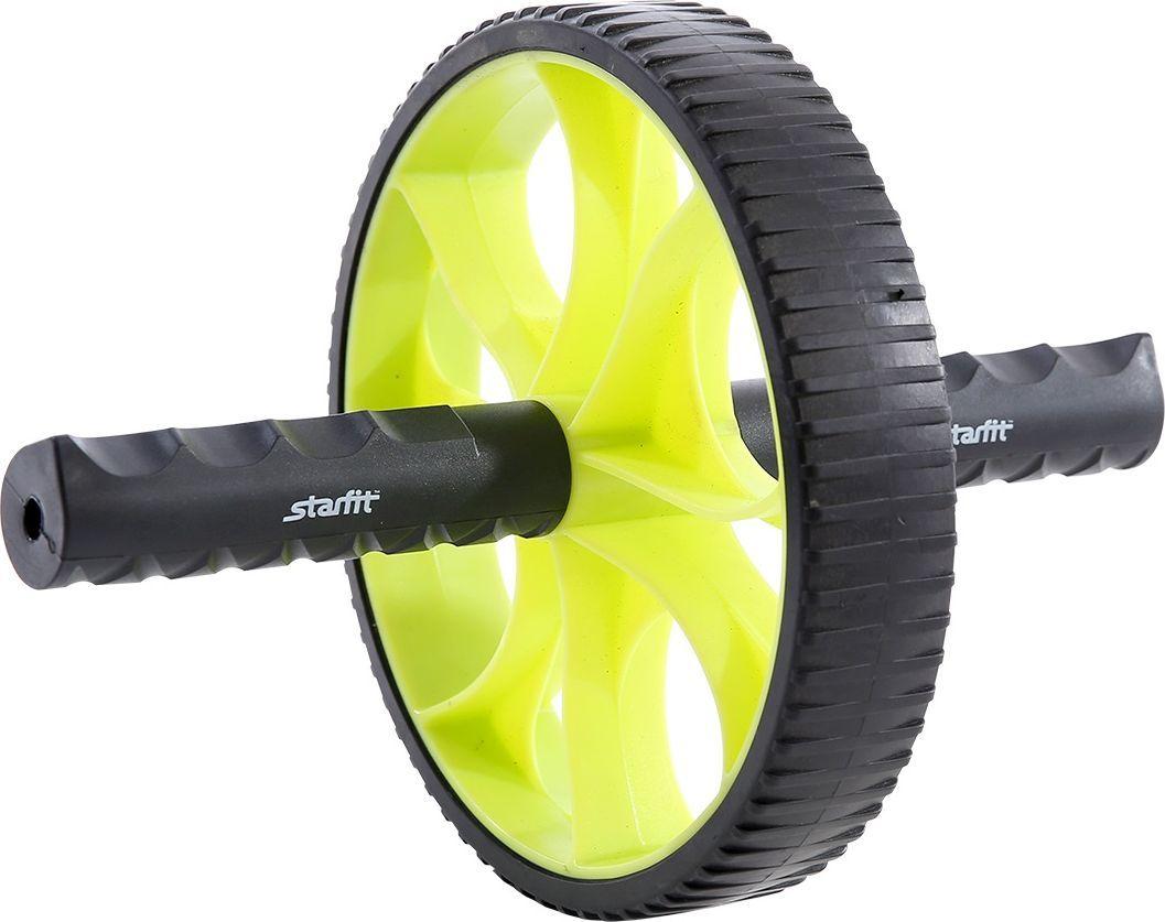 Ролик для пресса Starfit RL-103, цвет: зеленый, черныйУТ-00009811Ролик для пресса STARFIT RL-103 - фитнес-снаряд для комплексного укрепления мышц кора и брюшного пресса. Прочные ручки эргономичной формы обеспечивают наилучший захват. Твердое пластиковое покрытие роликового колеса устойчиво к истиранию при интенсивных тренировках. Яркий черно-зеленый дизайн привлечет внимание как женской, так и мужской аудитории.