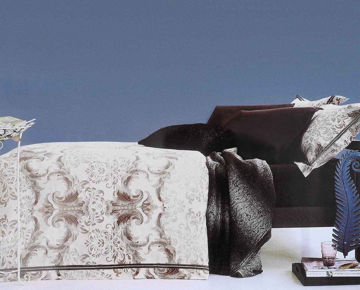 Комплект белья Arya Grafton, 2-х спальный, наволочки 70x70, 50х70, цвет: темно-коричневыйTR00001327Роскошный комплект постельного белья линии Romance Жаккард состоит из пододеяльника, простыни и четырех наволочек, изготовлен из хлопкового жаккарда. Жаккард – это ткань с уникальным рисунком, который создают на специальном станке. Из-за сложного плетения эта ткань довольно жесткая, поэтому используют ее только для верхней стороны пододеяльника и наволочек. Хлопковый жаккард соединяет в себе все плюсы натуральной ткани и сложного плетения: хорошо впитывает влагу, дышит, долговечен и прочнее любой ткани, кроме натурального шелка. В сатине высокой плотности нити очень сильно скручены, поэтому ткань гладкая и немного блестит. Комплект из плотного сатина прослужит дольше любого другого хлопкового белья. Благодаря диагональному пересечению нитей, он почти не мнется, но по гладкости и мягкости уступает атласным тканям.