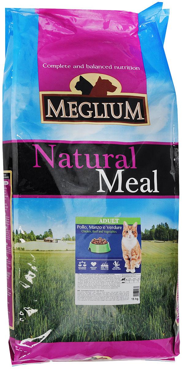 Корм сухой Meglium для кошек, с говядиной и курицей, 15 кгMGS0115Полноценный, сбалансированный и очень вкусный корм Meglium предназначен для взрослых кошек. Куриное мясо - это первый источник высокоусвояемых белков со сбалансированным набором аминокислот, рыба является источником полноценных белков и содержит большое количество Омега-3 жирных кислот - все это дополняет сбалансированная доза минералов, витаминов и таурина, благодаря чему корм удовлетворяет все пищевые потребности вашей кошки. Товар сертифицирован.