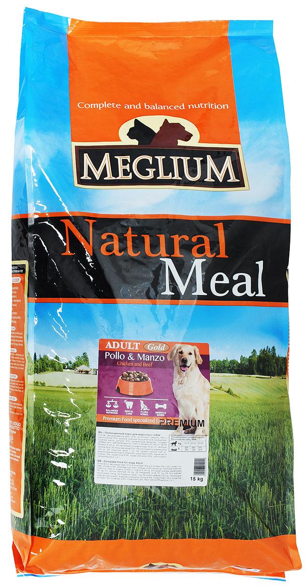 Корм сухой Meglium Gold для собак, 15 кгMS1315Полноценный и сбалансированный корм Meglium Gold предназначен для взрослых собак. Формула корма включает разные виды мяса, удовлетворяющие пищевые потребности собак всех размеров и обеспечивает полноценный рост. Куриное мясо является источником высокоусвояемых белков, правильный баланс белков и жиров, а также сбалансированная доза витаминов и минералов обеспечивают полноценный рост и здоровье собаки. Товар сертифицирован.