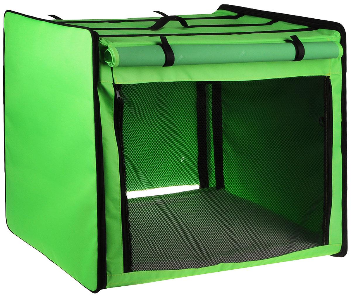 Клетка выставочная Elite Valley, цвет: черный, зеленый, 75 х 52 х 62 см. К-1К-1_зеленыйКлетка Elite Valley предназначена для показа кошек и собак на выставках. Она выполнена из плотного текстиля, каркас - металлический. Клетка оснащена съемными пленкой и сеткой. Внутри имеется мягкая подстилка, выполненная из искусственного меха. Прозрачную пленку можно прикрыть шторкой. Сверху расположена ручка для переноски. В комплекте сумка-чехол для удобной транспортировки.