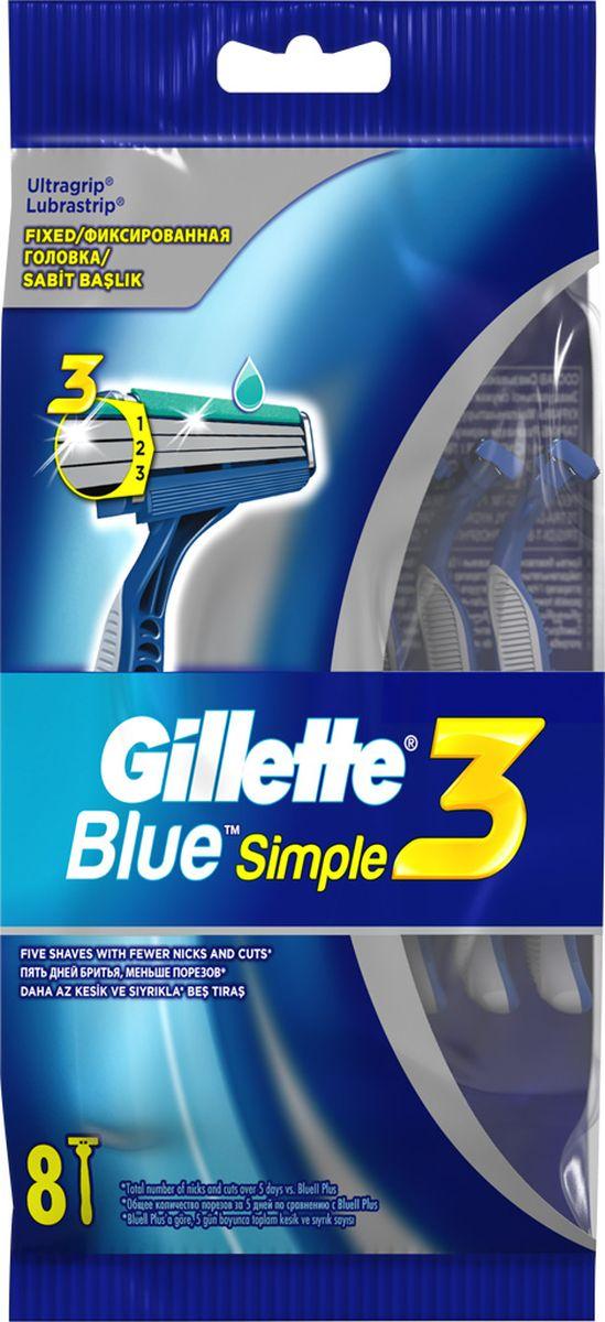 Gillette Blue Simple3 Бритвы одноразовые 8 штBLI-81631556Blue Simple 3 от Gillette — высокоэффективная одноразовая мужская бритва с 3-мя лезвиями. Она обеспечивает более качественное бритье с меньшим числом царапин и порезов (по сравнению с Gillette2). Бритва Blue Simple 3 от Gillette имеет 3 независимо подвешенных лезвия, обеспечивающих гладкое и комфортное бритье. Благодаря открытой архитектуре бритву легко промывать. Смазывающая полоска обеспечивает гладкое скольжение, а защитные микрогребни помогают натянуть кожу и подготовить волоски к срезанию. Бритва Blue Simple 3 от Gillette обеспечит вам гладкость кожи, заметную для окружающих, но не нанесет урона вашему бюджету. Обеспечивает более качественное бритье с меньшим числом царапин и порезов (по сравнению с Gillette2); Имеет 3 независимо подвешенных лезвия, повторяющих контуры вашего лица; Смазывающая полоска обеспечивает гладкое скольжение; Прорезиненная ручка и зафиксированная головка обеспечивают превосходный контроль; Гладкость кожи, заметная окружающим, и без урона для вашего...