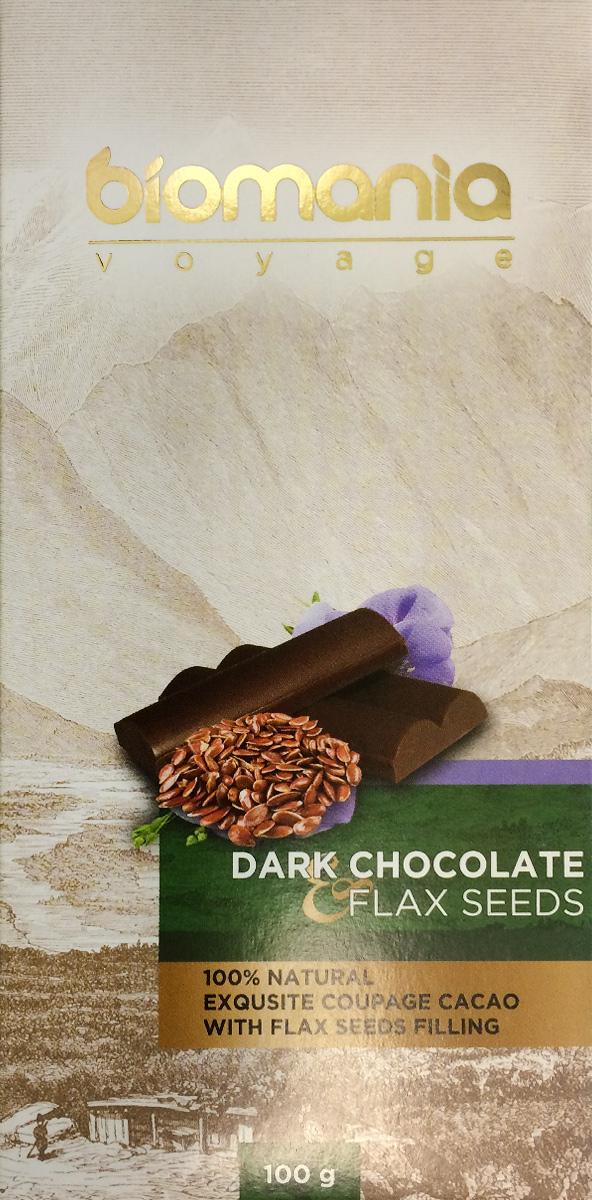 Biomania Voyage темный шоколад с урбечом из семян льна, 100 г00-00000019Ингредиенты для Шоколада Производитель использует благородные ароматические какао-бобы Тринитарио, Криолло (сегмента Premium - всего 5% от всех бобов в мире) и осуществляем селекцию поставщиков по каждому из ингредиентов. Неповторимый вкус Для получения идеального эксклюзивного вкуса и гармонии ароматов, наши Шоколатье исполняют оригинальное купажирование из различных видов шоколада. Know-how Ручная работа. Максимально содержание орехов или семян (в 2 раза больше по сравнению с конкурентами!) в виде начинки из паст Урбеч от компании «Биопродукты» 100% натуральность и качество Исключительная натуральность всех ингредиентов и высокие стандарты качества производственного процесса.