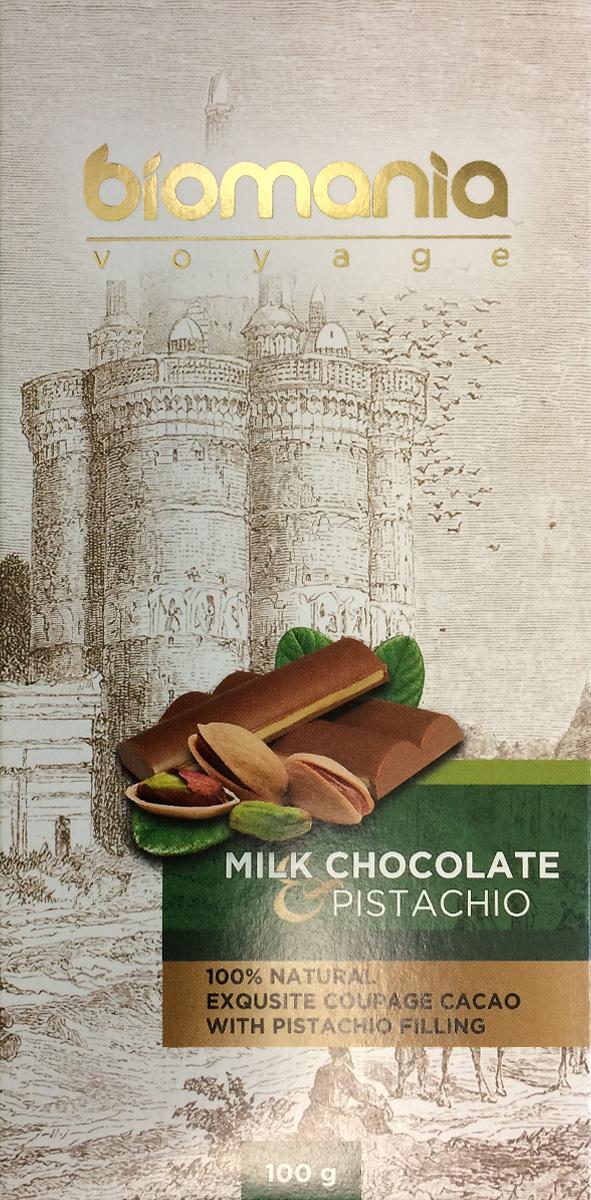 "Biomania ""Voyage"" молочный шоколад с урбечом из фисташки, 100 г 00-00000021"