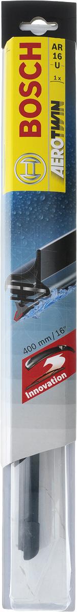 Щетка стеклоочистителя Bosch AR16U, бескаркасная, со спойлером, длина 40 см3397006824Бескаркасная универсальная щетка Bosch AR16U, выполненная по современной технологии из высококачественных материалов, предназначена для установки на стекло автомобиля. Отличается высоким качеством исполнения и оптимально подходит для замены оригинальных щеток, установленных на конвейере. Обеспечивает качественную очистку стекла в любую погоду. Изделие оснащено многофункциональным адаптером Multi-Clip, который превосходно подходит для наиболее распространенных типов креплений. Простой и быстрый монтаж. AEROTWIN - серия бескаркасных щеток компании Bosch. Щетки имеют встроенный аэродинамический спойлер, что делает их эффективными на высоких скоростях, и изготавливаются из многокомпонентной резины с применением натурального каучука. Тип крепления: 1.