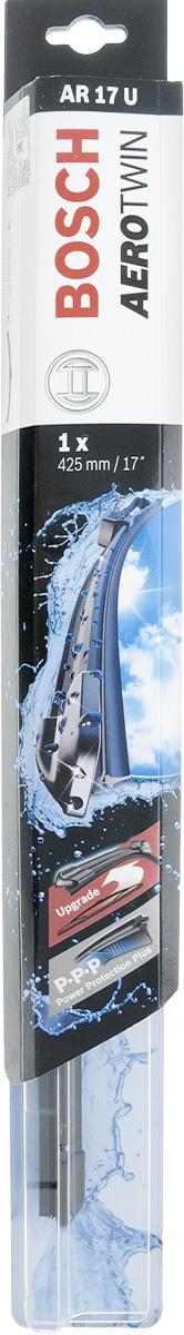 Щетка стеклоочистителя Bosch AR17U, бескаркасная, со спойлером, длина 42,5 см3397008531Бескаркасная универсальная щетка Bosch AR17U, выполненная по современной технологии из высококачественных материалов, предназначена для установки на стекло автомобиля. Отличается высоким качеством исполнения и оптимально подходит для замены оригинальных щеток, установленных на конвейере. Обеспечивает качественную очистку стекла в любую погоду. Изделие оснащено многофункциональным адаптером Multi-Clip, который превосходно подходит для наиболее распространенных типов креплений. Простой и быстрый монтаж. AEROTWIN - серия бескаркасных щеток компании Bosch. Щетки имеют встроенный аэродинамический спойлер, что делает их эффективными на высоких скоростях, и изготавливаются из многокомпонентной резины с применением натурального каучука. Тип крепления: 1.