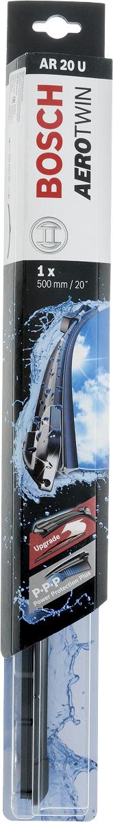 Щетка стеклоочистителя Bosch AR20U, бескаркасная, со спойлером, длина 50 см3397008535Бескаркасная универсальная щетка Bosch AR20U, выполненная по современной технологии из высококачественных материалов, предназначена для установки на стекло автомобиля. Отличается высоким качеством исполнения и оптимально подходит для замены оригинальных щеток, установленных на конвейере. Обеспечивает качественную очистку стекла в любую погоду. Изделие оснащено многофункциональным адаптером Multi-Clip, который превосходно подходит для наиболее распространенных типов креплений. Простой и быстрый монтаж. AEROTWIN - серия бескаркасных щеток компании Bosch. Щетки имеют встроенный аэродинамический спойлер, что делает их эффективными на высоких скоростях, и изготавливаются из многокомпонентной резины с применением натурального каучука. Тип крепления: 1.