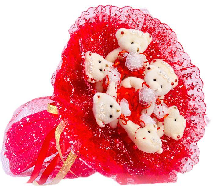 Букет из игрушек Toy Bouquet Медвежата Зефирки, цвет: красный, 7 игрушекBZ005-7-31Букет из 7 мягких плюшевых мишек, упакован в воздушную флористическую сетку красного цвета, декорирован нежным кружевом по краю букета и перевязан широкой атласной лентой с добавлением серебристой парчовой тесьмы. Букет из игрушек – это идеальный подарок, который подойдет к любому празднику, событию или торжеству.