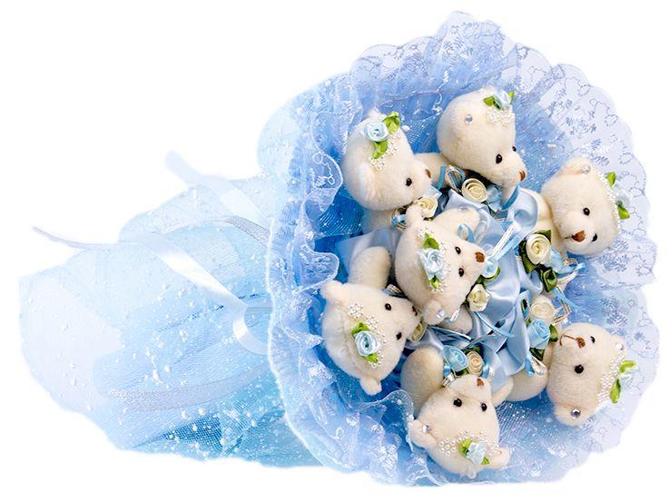 Букет из игрушек Toy Bouquet Медвежата Зефирки, цвет: голубой, 7 игрушекBZ005-7-51Букет из 7 мягких плюшевых мишек, упакован в воздушную флористическую сетку голубого цвета, декорирован нежным кружевом по краю букета и перевязан широкой атласной лентой с добавлением серебристой парчовой тесьмы. Букет из игрушек – это идеальный подарок, который подойдет к любому празднику, событию или торжеству.