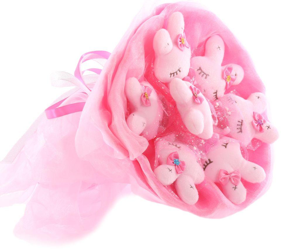 Букет из игрушек Toy Bouquet Зайчата, цвет: розовый, 7 игрушекRW004-7-41Букет из 7 милых зайчиков, розового цвета, упакован в мягкую струящуюся органзу с добавлением флористической сетки, перевязан широкой атласной лентой с добавлением серебристой парчовой тесьмы. Мягкие игрушки, оформленные в букет – приятный подарок для любимой, для мамы, подруги или для ребенка. Оригинальные букеты торговой марки TOY BOUQUET из мягких игрушек прекрасно подойдут для многих праздников: День Святого Валентина, 8 марта, день рождения, выпускной, а также на другие памятные даты или годовщины.