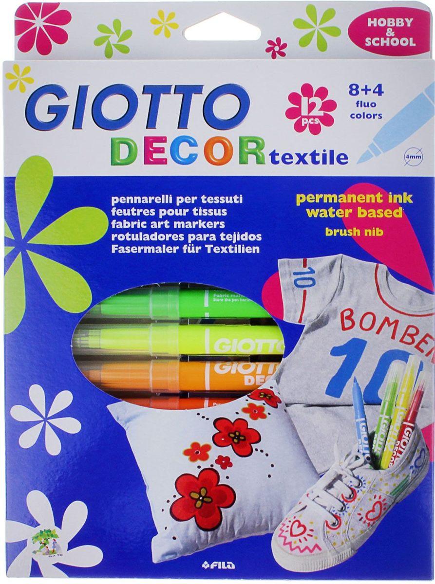 Giotto Набор маркеров для ткани Decor Textile 12 цветов505628AST 12 GIOTTO DECOR TEXTILE 12 цв. Специальные фломастеры для декорирования по ткани. Перманентные, для закрепления перманентного эффекта обязательно пройтись поверх рисунка горячим утюгом без пара. Фетровый наконечник. Чернила на водной основе, без запаха.