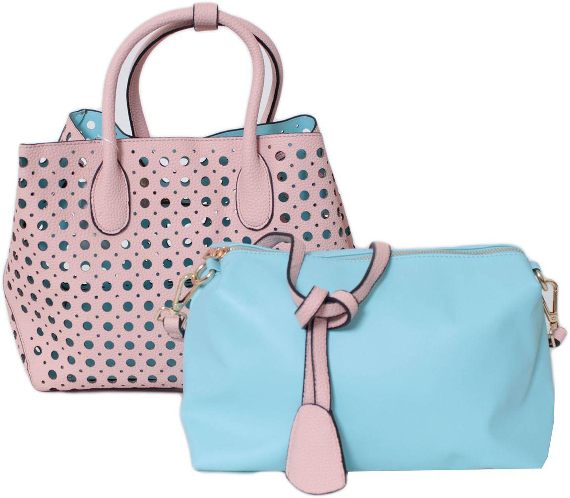 Сумка женская Flioraj, цвет: розовый. 00260026 pink/blueЗакрывается на кнопку. Внутри одно отделение. В комплекте косметичка и длинный ремень. Высота ручек 14 см.