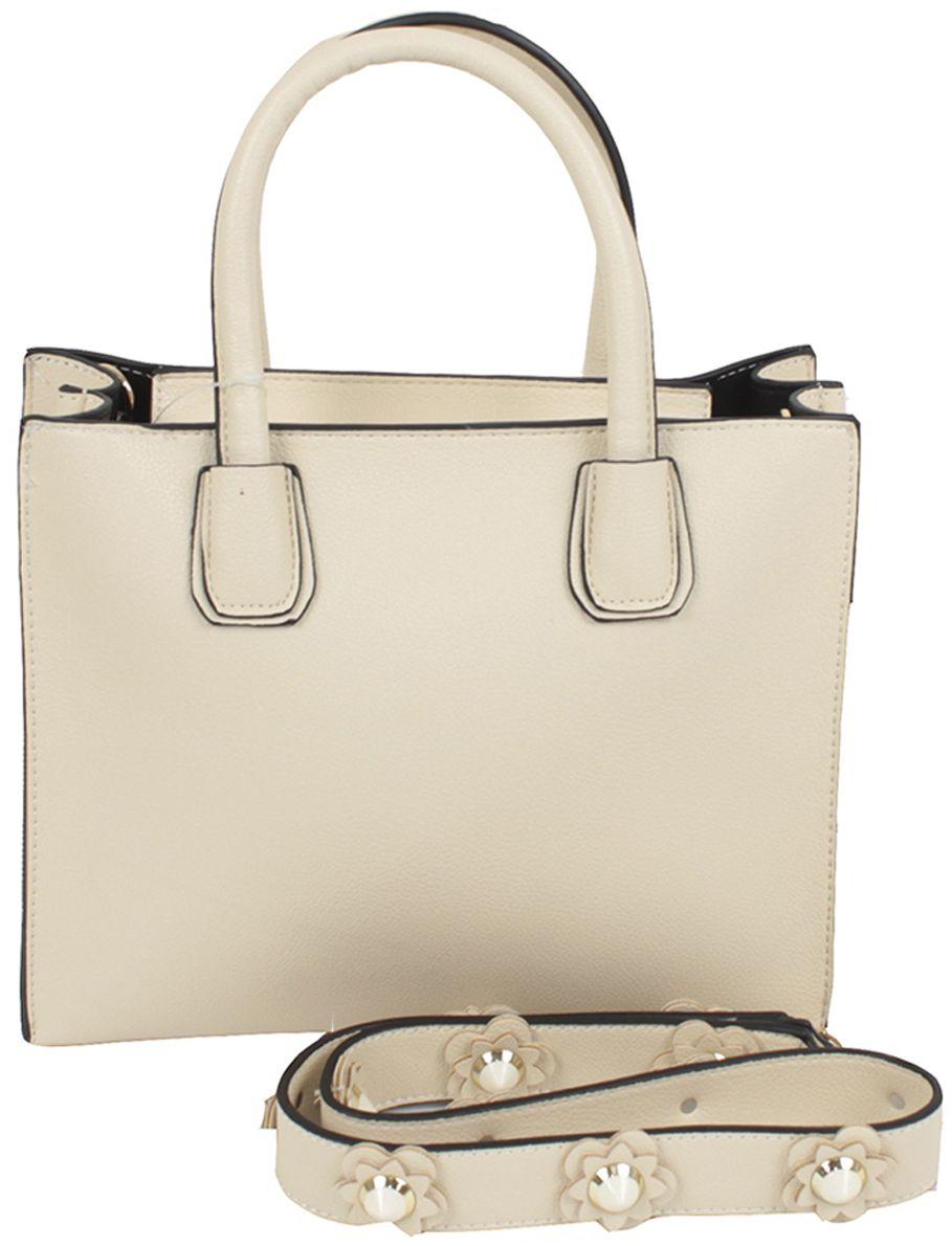 Сумка женская Flioraj, цвет: бежевый. 81008100 beigeЗакрывается на молнию. Внутри два отделения, один карман на молнии. В комплекте длинный ремень. Высота ручек 12 см.