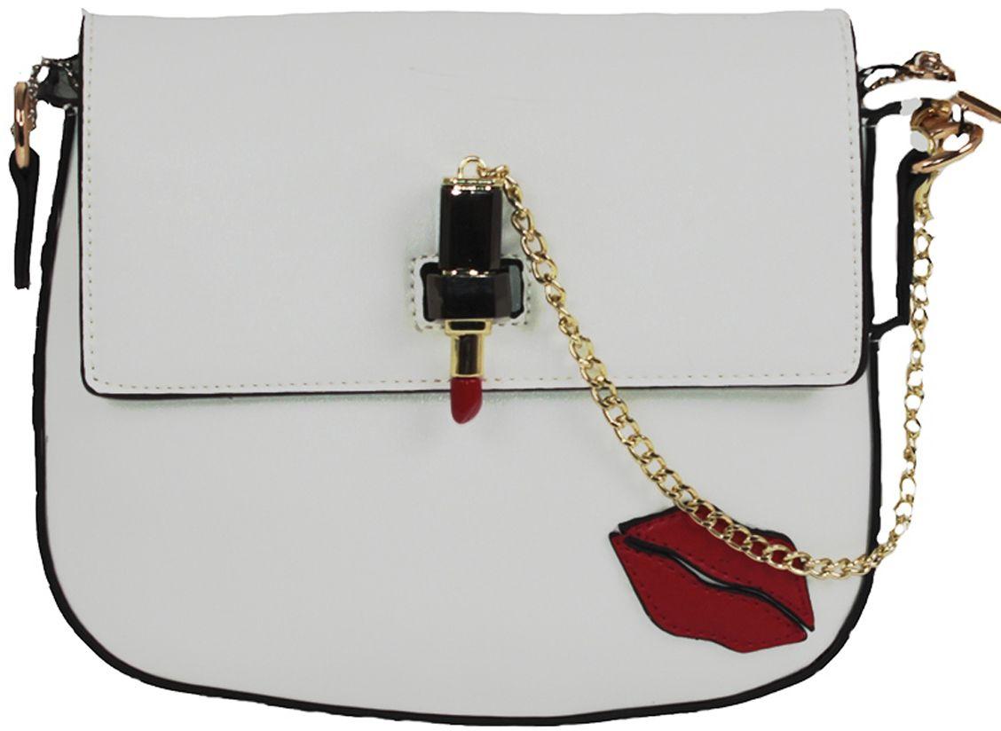 Клатч женский Flioraj, цвет: белый. 80578057 whiteЗакрывается на декоративный замок. Внутри два отделения, два кармана на молнии и два дл мобильного телефона, снаружи карман на молнии.