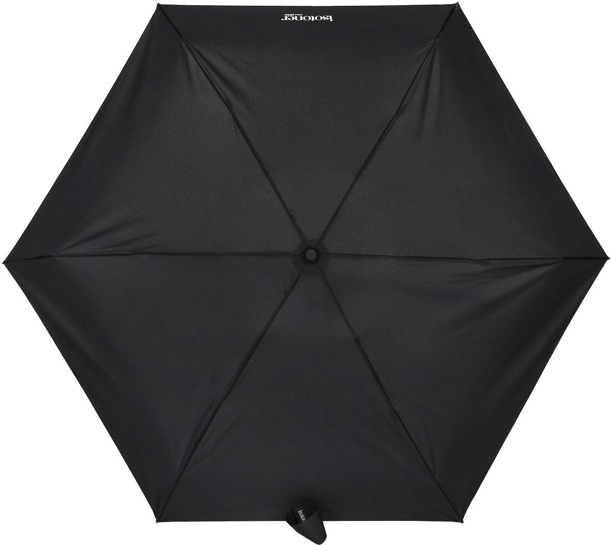 Зонт Isotoner, механический, 5 сложений, цвет: черный. 09137-109137-1Компактный зонт Isotoner выполнен из металла, пластика. Каркас зонта выполнен из шести спиц на прочном стержне. Купол зонта изготовлен прочного полиэстера. Закрытый купол застегивается на липучку хлястиком. Практичная рукоятка закругленной формы разработана с учетом требований эргономики. Зонт складывается и раскладывается механическим способом. Такой зонт не только надежно защитит от дождя, но и станет стильным аксессуаром.