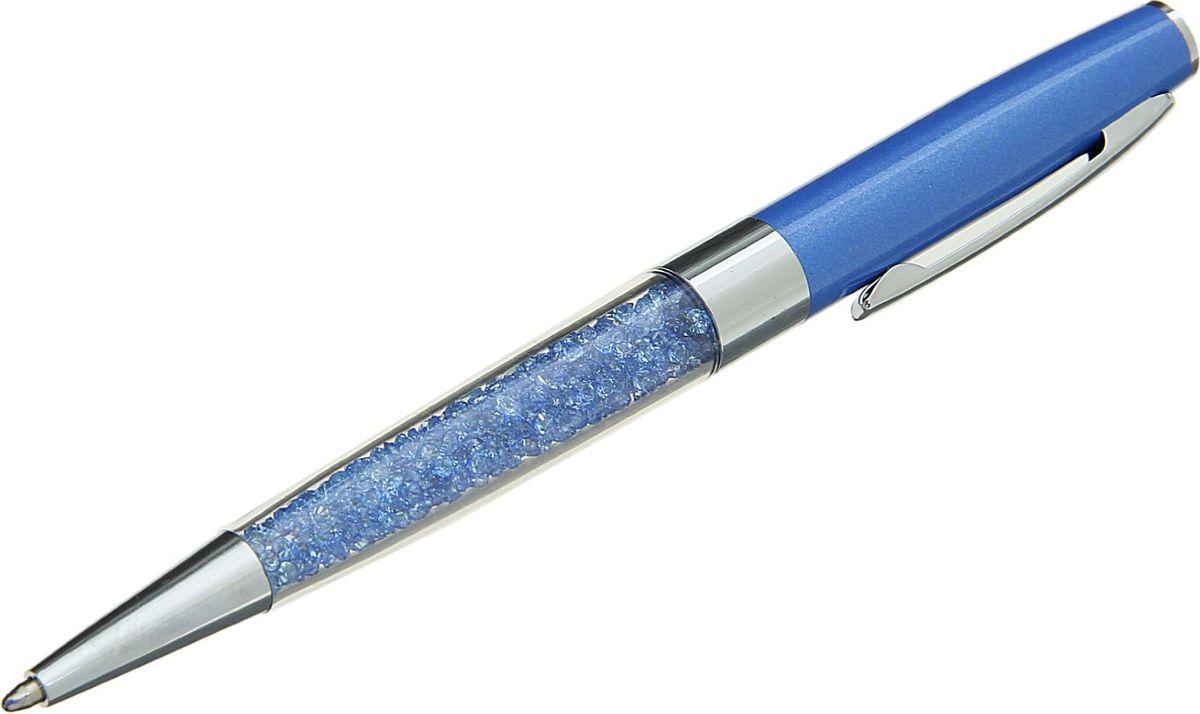 Ручка шариковая Стразы цвет корпуса голубой синяя1509119