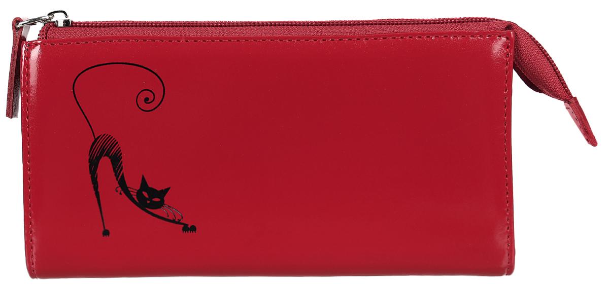 Портмоне жен Befler Изящная кошка, цвет: красный. PJ.157.-1PJ.157.-1.redЖенское полнокупюрное портмоне из коллекции «Изящная кошка» выполнено из натуральной кожи. Закрывается на молнию. Внутренний функционал: 3 отделения для купюр, скрытый карман, отделение для мелочи на молнии, накладной карман из кожи для кредитных карт.