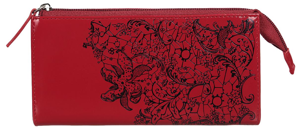 Портмоне женское Befler Гипюр, цвет: красный, черный. PJ.158.-1PJ.158.-1Портмоне Befler Гипюр выполнено из натуральной лаковой кожи и оформлено тисненым рисунком. Закрывается на молнию. Внутри расположено 3 отделения для купюр, скрытый карман, отделение для мелочи на молнии, накладной карман из кожи для кредитных карт.