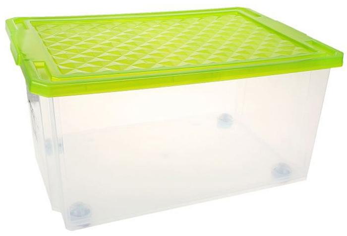 Ящик для хранения BranQ Optima, на колесиках, цвет: зеленый, прозрачный, 57 лBQ2576ЗЛПРУниверсальный ящик для хранения BranQ Optima, выполненный из прочного пластика, поможет правильно организовать пространство в доме и сэкономить место. В нем можно хранить все, что угодно: одежду, обувь, детские игрушки и многое другое. Прочный каркас ящика позволит хранить как легкие вещи, так и переносить собранный урожай овощей или фруктов. С помощью колесиков на дне изделия ящик легко перемещать по комнате. Изделие также оснащено крышкой, которая защитит вещи от пыли, грязи и влаги.