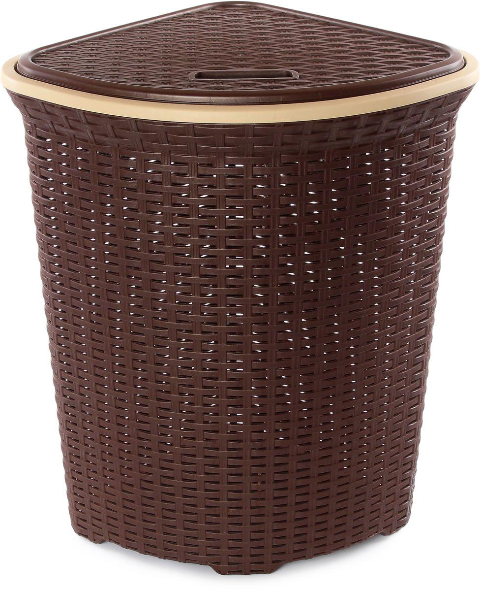 Корзина для белья Violet Ротанг, угловая, цвет: коричневый, 60 л810246Удобная, вместительная плетеная угловая корзина для белья с крышкой для повседневного использования. Организует пространство и впишется в любой интерьер.