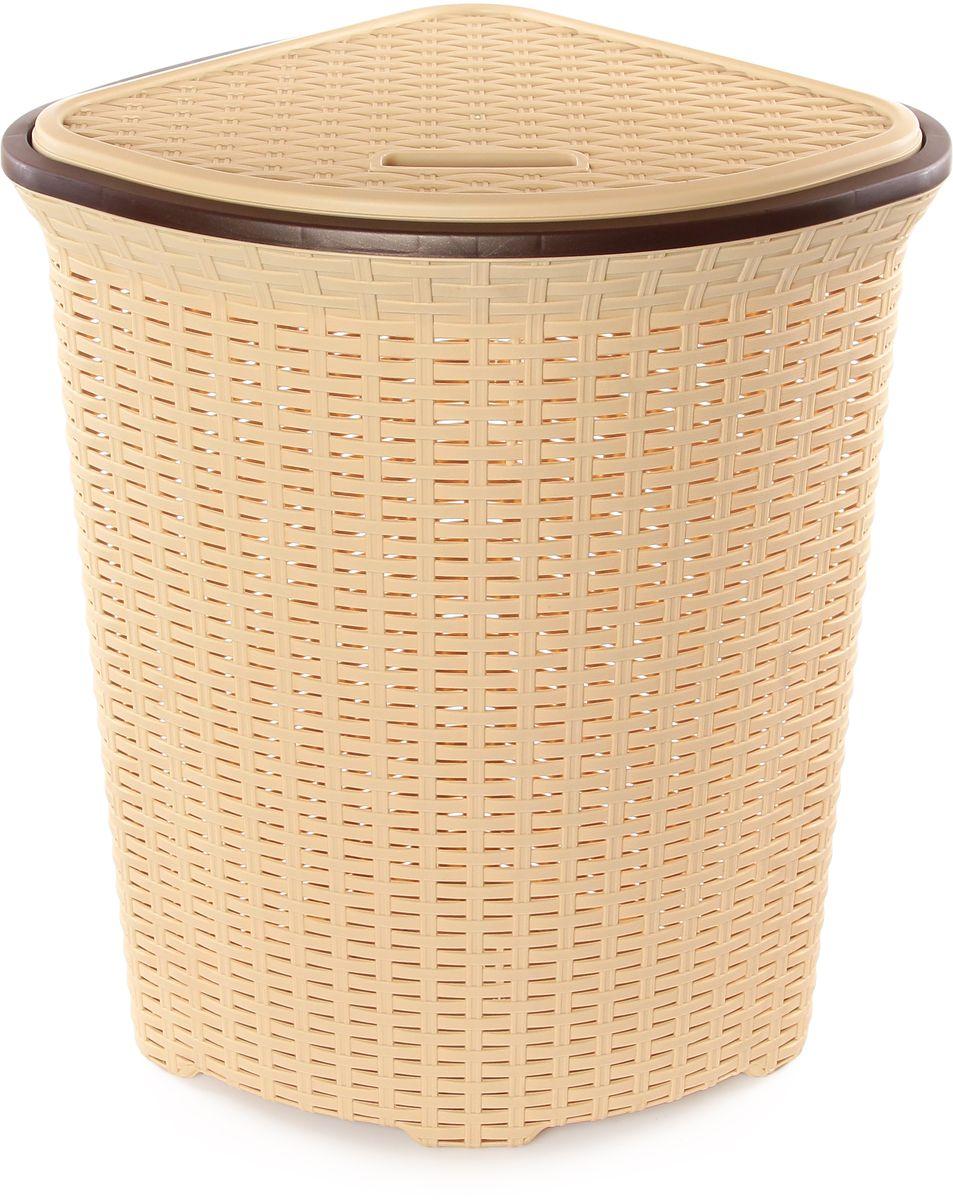 Корзина для белья Violet Ротанг, угловая, цвет: бежевый, 60 л810247Удобная, вместительная плетеная угловая корзина для белья с крышкой для повседневного использования. Организует пространство и впишется в любой интерьер.