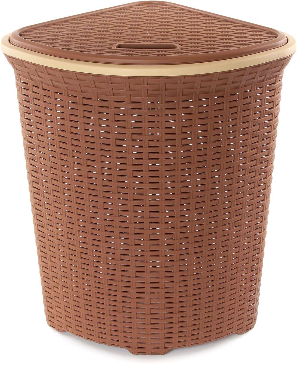 Корзина для белья Violet Ротанг, угловая, цвет: светло-коричневый, 60 л810249Удобная, вместительная плетеная угловая корзина для белья с крышкой для повседневного использования. Организует пространство и впишется в любой интерьер.