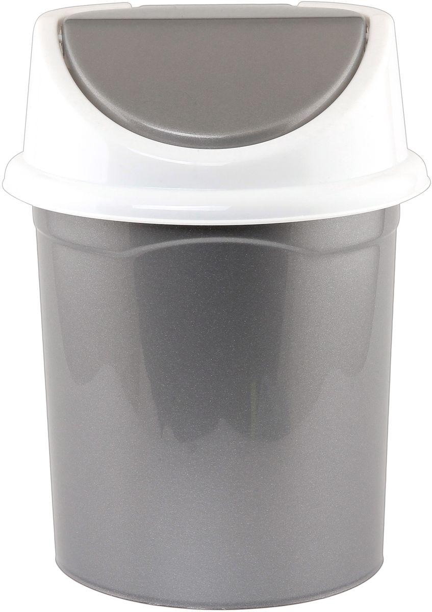Ведро для мусора Violet, с крышкой, 14 л810395Удобное ведро для мусора Violet, выполненное из высококачественного износостойкого пластика, оснащено крышкой. Ведро подходит для использования в ванной комнате или на кухне. Стильный дизайн прекрасно подойдет для любого интерьера ванной комнаты или кухни.