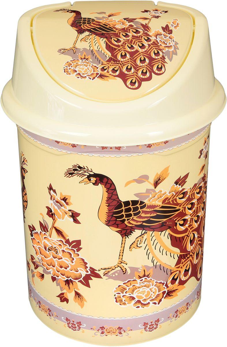 Ведро для мусора Violet Павлин на бежевом, с крышкой, 14 л811095Удобное ведро для мусора Violet, выполненное из высококачественного износостойкого пластика, оснащено крышкой. Ведро подходит для использования в ванной комнате или на кухне. Стильный дизайн и яркая расцветка прекрасно подойдет для любого интерьера ванной комнаты или кухни.