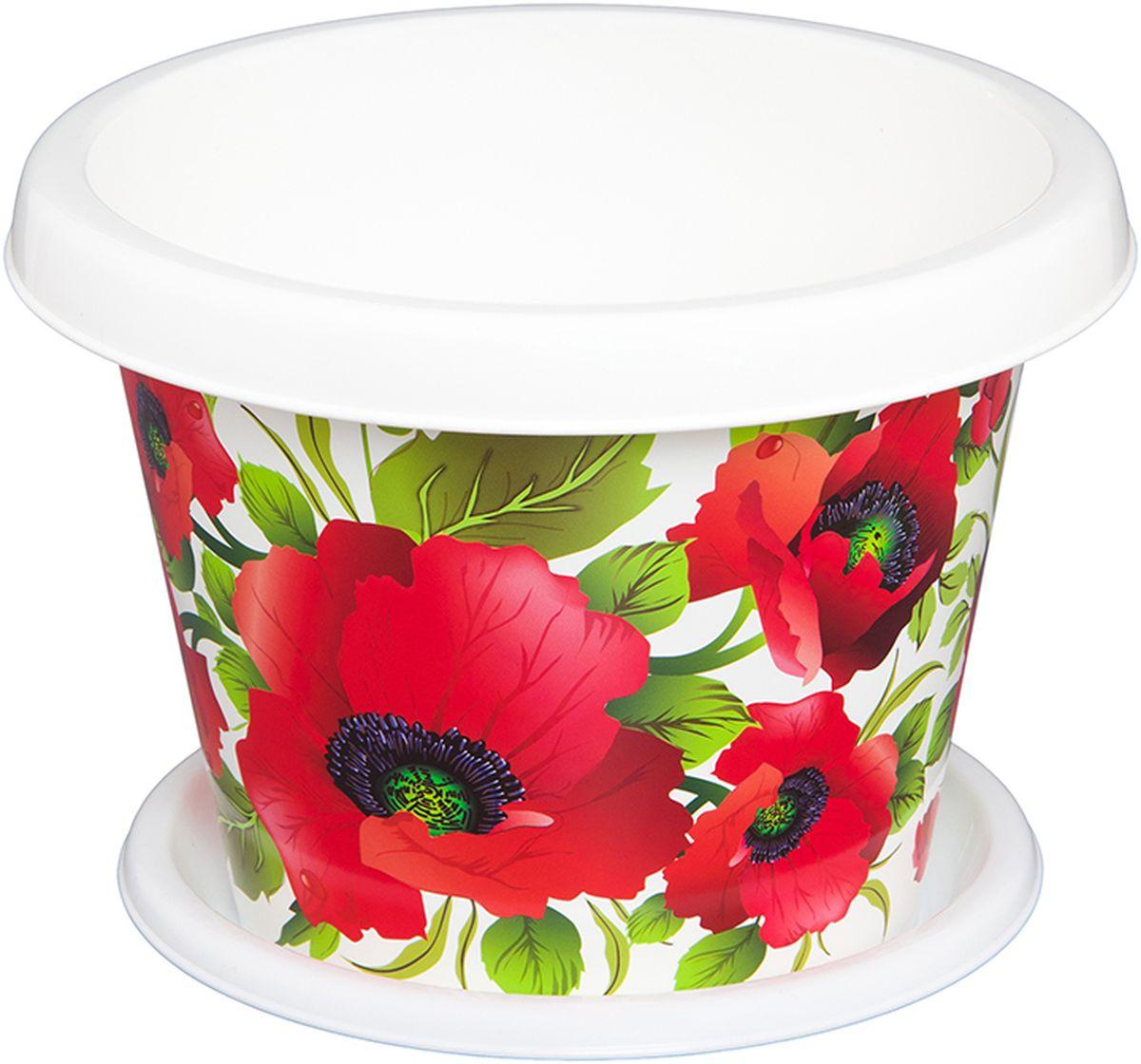 Кашпо Violet Маки, с поддоном, 8 л811181Кашпо Violet изготовлено из высококачественного пластика. Специальный поддон предназначен для стока воды. Изделие прекрасно подходит для выращивания растений и цветов в домашних условиях. Лаконичный дизайн впишется в интерьер любого помещения.