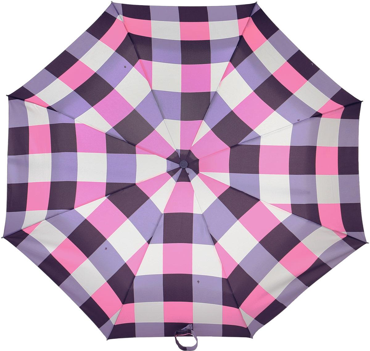 Зонт женский Fulton, механический, 3 сложения, цвет: розовый, бордовый. L354-3379L354-3379 OversizeCheckСтильный механический зонт Fulton имеет 3 сложения, даже в ненастную погоду позволит вам оставаться стильной. Легкий, но в тоже время прочный алюминиевый каркас состоит из восьми спиц с элементами из фибергласса. Купол зонта выполнен из прочного полиэстера с водоотталкивающей пропиткой. Рукоятка закругленной формы, разработанная с учетом требований эргономики, выполнена из каучука. Зонт имеет механический способ сложения: и купол, и стержень открываются и закрываются вручную до характерного щелчка.