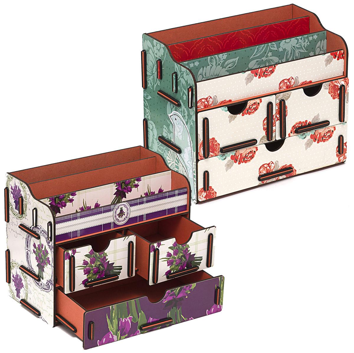 Набор шкатулок Homsu Все оттенки прекрасного, для украшений, 2 штDEN-04Этот комплект из оригинальных сундучков имеет множество полочек сверху для хранения косметики, парфюмерии и аксессуаров, а также два маленьких ящичка размером 11см на 14,5см и один большой ящик размером 22см на 14,5см, которые позволят разместить в них все самое необходимое и сокровенное для каждой женщины. Шкатулочки можно поставить на стол, они станут отличным дополнением интерьера. 240х140х190; 240х140х190