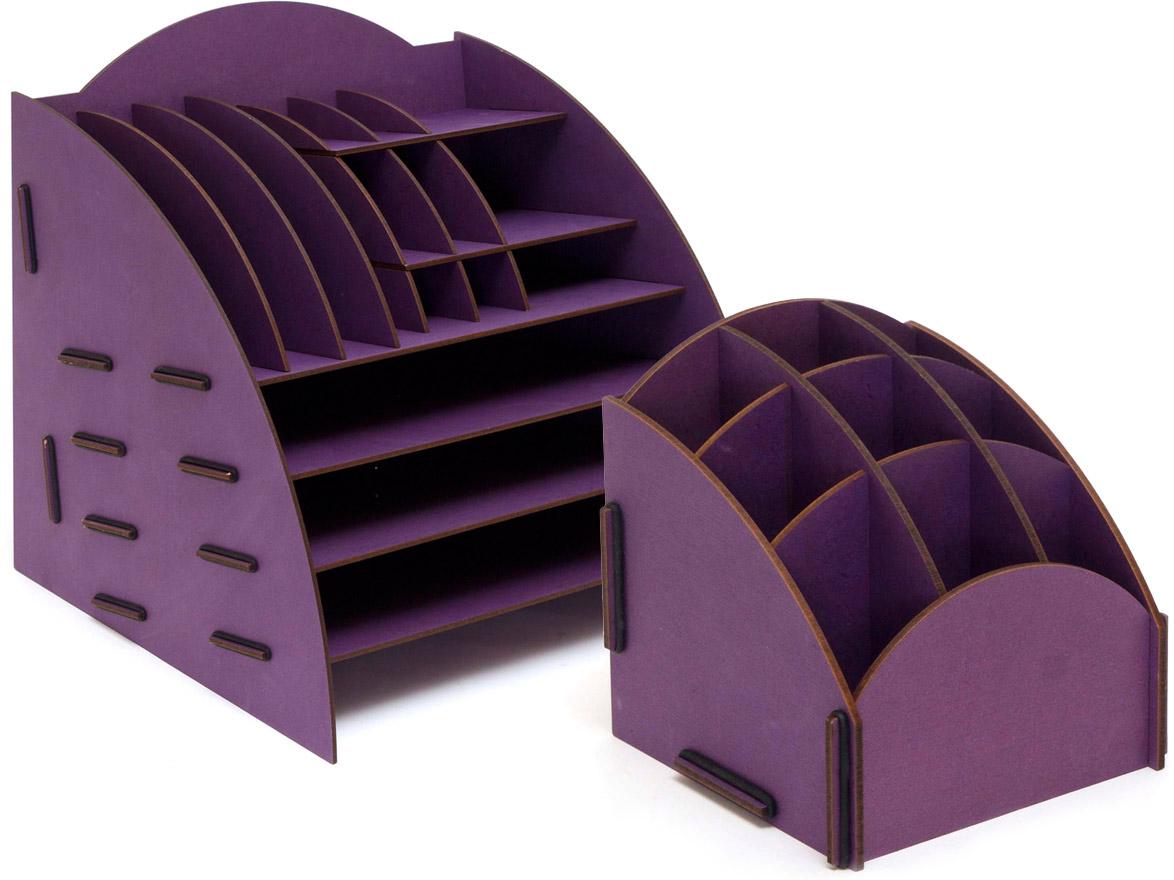 Набор настольных органайзеров Homsu, для дома и офиса, цвет: фиолетовый, 2 штDEN-08Этот комплект просто незаменим на рабочем столе, он вместителен и в то же время, не занимает много места. Яркий дизайн дополнит интерьер дома и разбавит цвет в скучном сером офисе. Органайзеры отлично смотрится в любом интерьере, изготовлены из МДФ и легко собираются из съемных частей. Места на вашем рабочем столе станет больше с появлением этих органайзеров. 355х320х340; 138х138х140