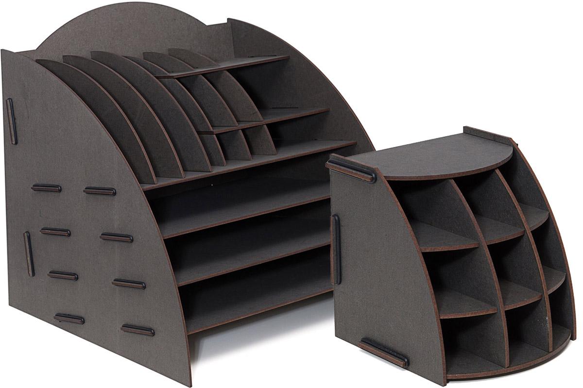 Набор настольных органайзеров Homsu, для дома и офиса, цвет: черный, 2 штDEN-09Этот комплект просто незаменим на рабочем столе, он вместителен и в то же время, не занимает много места. Яркий дизайн дополнит интерьер дома и разбавит цвет в скучном сером офисе. Органайзеры отлично смотрится в любом интерьере, изготовлены из МДФ и легко собираются из съемных частей. Места на вашем рабочем столе станет больше с появлением этих органайзеров. 355х320х340; 138х138х140
