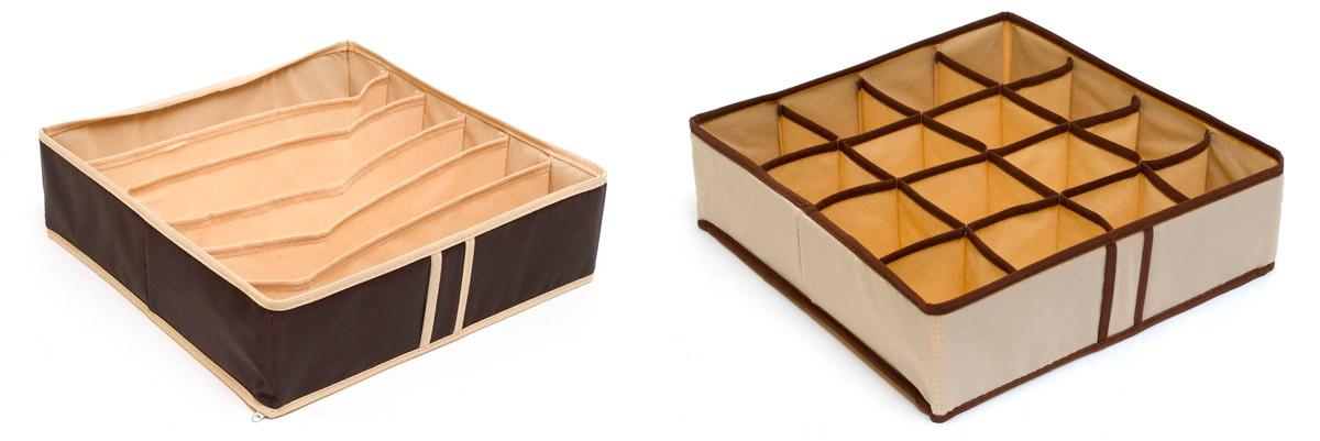 Набор органайзеров Homsu Домашний уют, 22 ячейки, 2 штDEN-17Набор органайзеров предназначен для удобного и компактного хранения белья и мелких вещей. А темно-коричневый цвет отлично дополняет интерьер, придавая ему оригинальный стиль.В набор входят 2 органайзера: Органайзер на 6 ячеек - он сохранит форму вашего белья, он компактен, не занимает много места, и в то же время может вместить несколько бюстгальтеров. Органайзер на 16 ячеек для белья и мелких предметов - в него можно сложить носки, трусики и прочие небольшие предметы гардероба, множество ячеек не позволит белью смяться и перепутаться. Выбирая набор органайзеров, вы приобретаете практичное хранение вещей, стильные аксессуары для интерьера и свободное пространство. 350х350х100; 350х350х100